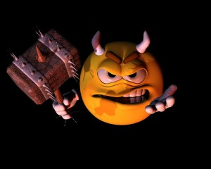 Evil 3D Rendered Cartoon Emoticon